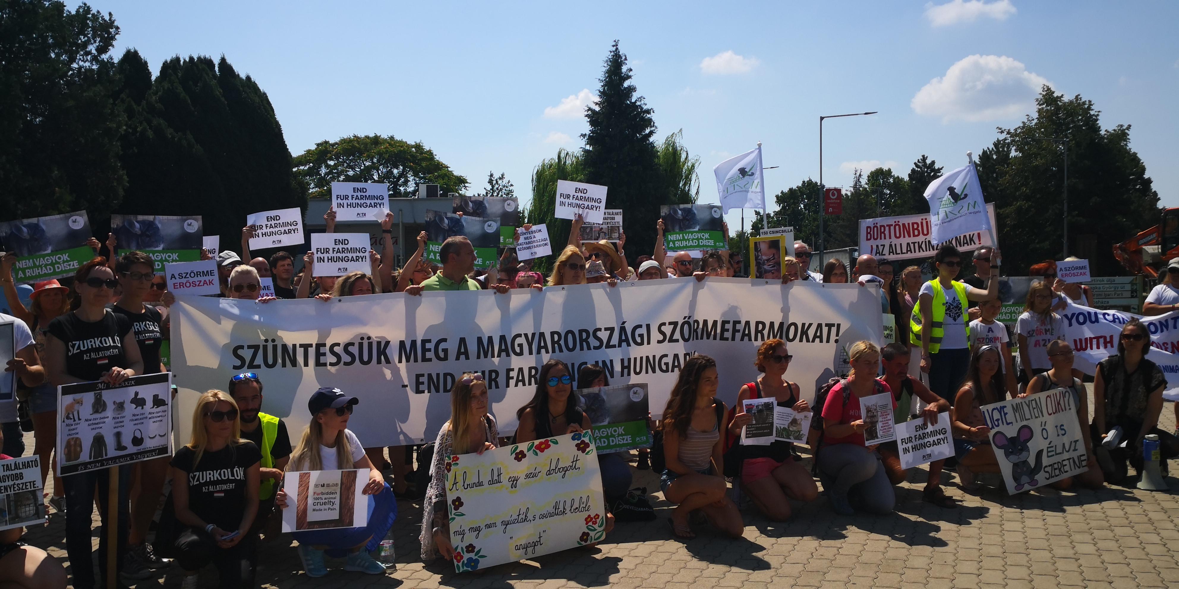 Szőrme ellenes tüntetők molinóval